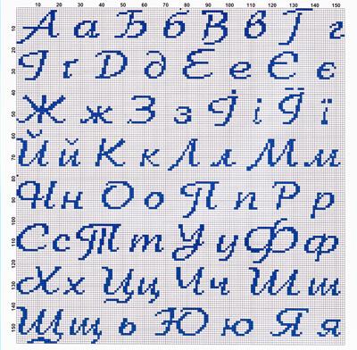 Схемы русских букв для вышивки 310