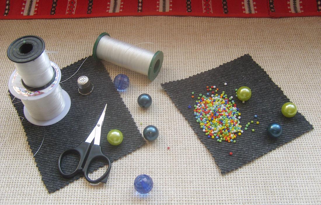 Как закрепить леску при вышивке бисером